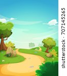 spring landscape background... | Shutterstock .eps vector #707145265