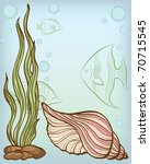 Background With Shell And Fishes