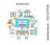 square blockchain concept...   Shutterstock .eps vector #707157958