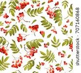 autumn rowan berry seamless... | Shutterstock .eps vector #707160868