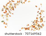 autumn composition. frame made... | Shutterstock . vector #707169562