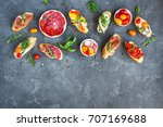 traditional spanish tapas on... | Shutterstock . vector #707169688