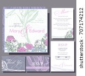 set of wedding cards with roses.... | Shutterstock .eps vector #707174212