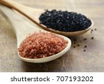 Small photo of Different gourmet varieties of salt - black and red Hawaiian variety