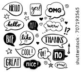 speech bubbles drawn by hand  ... | Shutterstock .eps vector #707193565