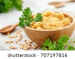 yellow peas puree with... | Shutterstock . vector #707197816