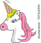 cute unicorn with an ice cream... | Shutterstock .eps vector #707223592