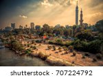beautiful sunrays and cairo... | Shutterstock . vector #707224792