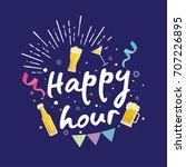 modern beer happy hour card... | Shutterstock .eps vector #707226895