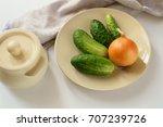 fresh green cucumber and onion...