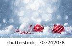 winter decorations on snow... | Shutterstock . vector #707242078
