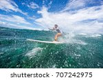 young beautiful girl surf on... | Shutterstock . vector #707242975