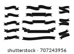 set of black vector ribbons on... | Shutterstock .eps vector #707243956