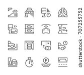 set line icons of parking | Shutterstock .eps vector #707255752