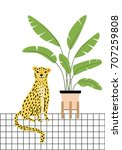 illustration with cute leopard... | Shutterstock .eps vector #707259808