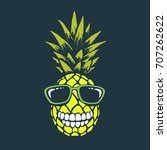 smiling funny pineapple with... | Shutterstock .eps vector #707262622