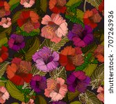 seamless background with exotic ... | Shutterstock .eps vector #707263936