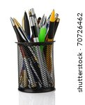 colorful pens in holder...