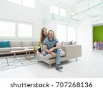 young handsome couple enjoys... | Shutterstock . vector #707268136