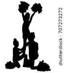 three black silhouettes of... | Shutterstock .eps vector #707273272