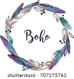 boho style wreath feathers... | Shutterstock .eps vector #707275762
