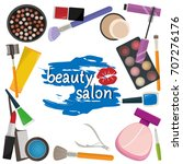beauty salon design template on ... | Shutterstock .eps vector #707276176