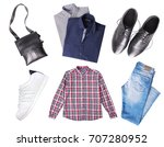 male set of clothes top view... | Shutterstock . vector #707280952