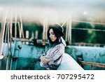 grunge young girl. hipster.... | Shutterstock . vector #707295472