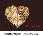 autumn card   dry autumn leaf... | Shutterstock . vector #707299366