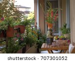 city terrace. a relaxation... | Shutterstock . vector #707301052