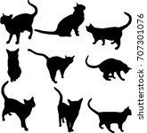 cat silhouette raster | Shutterstock . vector #707301076