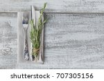 rustic table setting with... | Shutterstock . vector #707305156