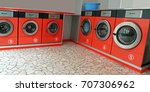 series of Automatic laundromat for washing dirty clothes inside a store