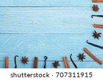 frame of vanilla sticks ... | Shutterstock . vector #707311915