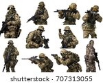 special forces soldier with... | Shutterstock . vector #707313055