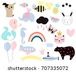 set of cute kids elements for... | Shutterstock .eps vector #707335072