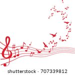 birds flying from sheet music | Shutterstock .eps vector #707339812