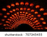 red lanterns during chinese new ... | Shutterstock . vector #707345455