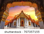 marble temple in bangkok ... | Shutterstock . vector #707357155