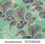 paisley watercolor ethnic... | Shutterstock . vector #707358355