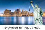 the statue of liberty with... | Shutterstock . vector #707367538