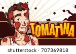 banner with smiling man covered ...   Shutterstock .eps vector #707369818