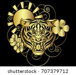golden style tiger face with...   Shutterstock .eps vector #707379712