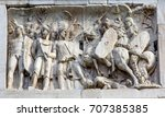 Small photo of Roman Legionnaires Military Battle Arch of Constantine Rome Italy Arch built in 315 AD to celebrate Emperor Constantine's victory in 312. Constantine made Christianity legal