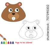 funny beaver face to be colored ... | Shutterstock .eps vector #707390302