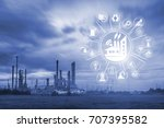 oil refinery at twilight with... | Shutterstock . vector #707395582