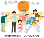 a concert of the full moon... | Shutterstock .eps vector #707395726
