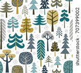 winter snowy woods seamless...   Shutterstock .eps vector #707399002