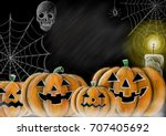 drawing halloween pumpkin... | Shutterstock . vector #707405692
