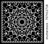 black and white paisley bandana ... | Shutterstock . vector #707412718